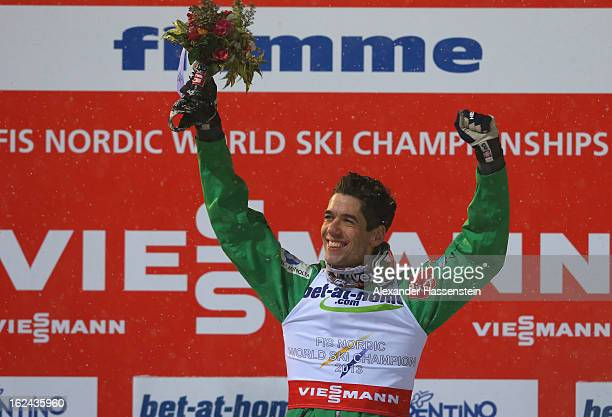 Anders Bardal of Norway celebrates victory on the podium following the Men's Ski Jumping HS106 Final Round at the FIS Nordic World Ski Championships...