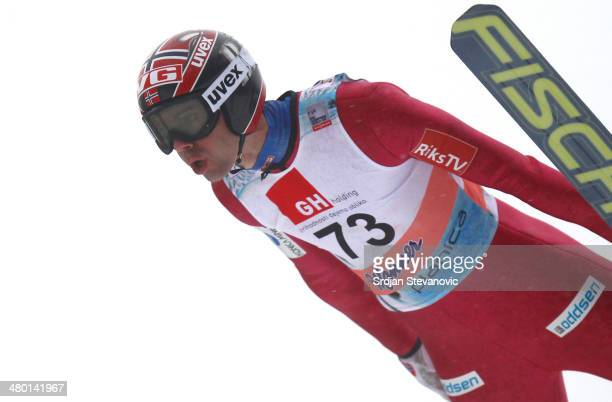 Anders Bardal of Norway competes during the first round of the Large Hill Individual of the FIS Men's Ski Jumping World Cup on March 23 2014 in...