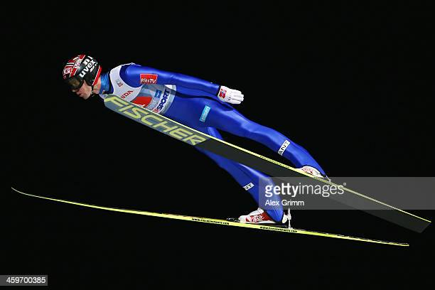 Anders Bardal of Norway competes during the first round on day 2 of the Four Hills Tournament Ski Jumping event at SchattenbergSchanze on December 29...