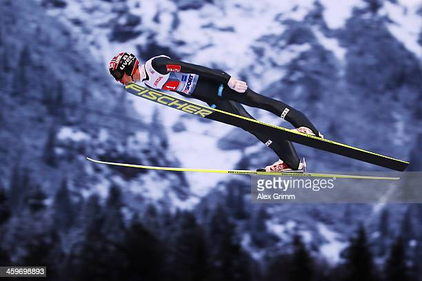 Anders Bardal of Norway competes during the trial round on day 2 of the Four Hills Tournament Ski Jumping event at SchattenbergSchanze on December 29...