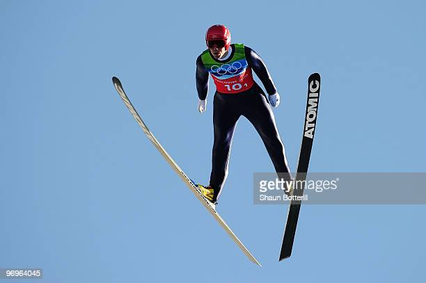 Anders Bardal of Norway competes in the men's ski jumping team event on day 11 of the 2010 Vancouver Winter Olympics at Whistler Olympic Park Ski...