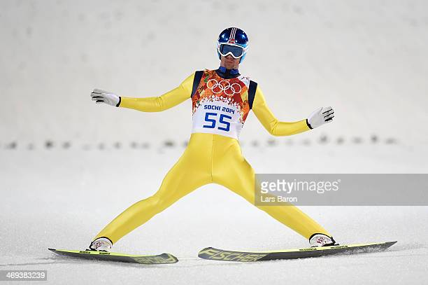 Anders Bardal of Norway finishes a jump during the Men's Large Hill Individual Qualification on day 7 of the Sochi 2014 Winter Olympics at the RusSki...