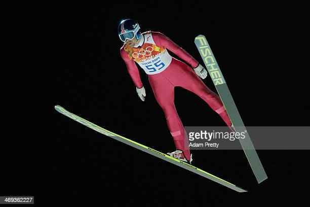 Anders Bardal of Norway jumps during the Men's Large Hill Individual Qualification on day 7 of the Sochi 2014 Winter Olympics at the RusSki Gorki Ski...