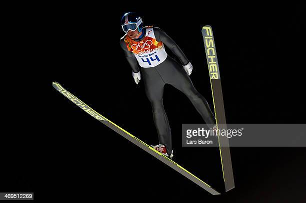 Anders Bardal of Norway jumps during the Men's Large Hill Individual 1st Round on day 8 of the Sochi 2014 Winter Olympics at the RusSki Gorki Ski...