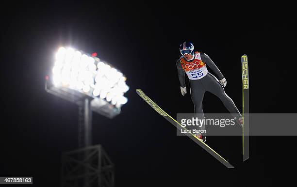 Anders Bardal of Norway jumps during the Men's Normal Hill Individual Qualification on day 1 of the Sochi 2014 Winter Olympics at the RusSki Gorki...