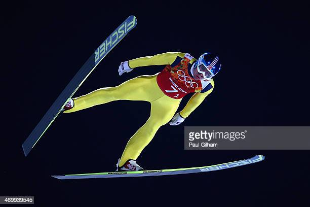 Anders Bardal of Norway jumps during the Men's Team Ski Jumping trial on day 10 of the Sochi 2014 Winter Olympics at the RusSki Gorki Ski Jumping...