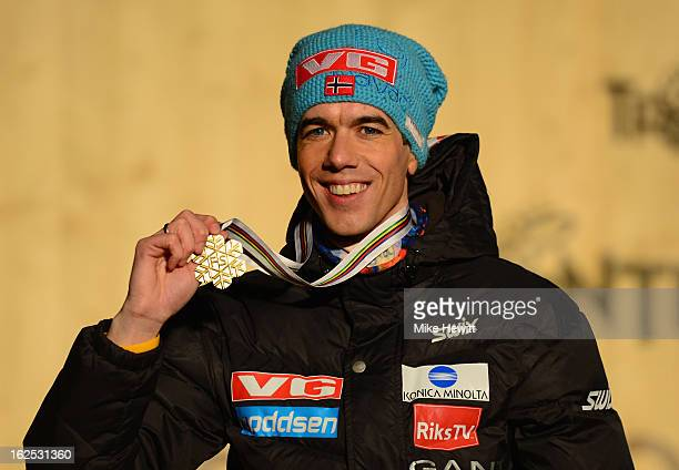 Anders Bardal of Norway poses with his Gold medal at the medal ceremony for the Men's Ski Jumping HS106 at the FIS Nordic World Ski Championships on...