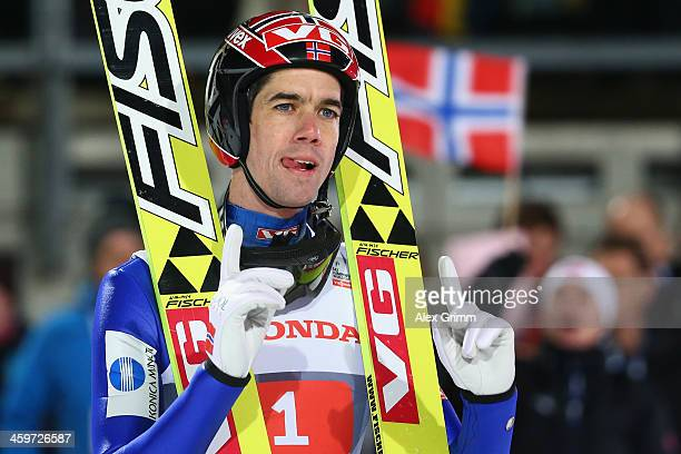 Anders Bardal of Norway reacts after finishing second in the Four Hills Tournament Ski Jumping event at SchattenbergSchanze on December 29 2013 in...