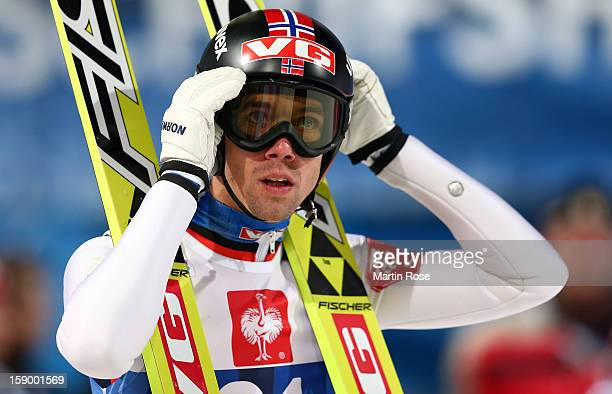 Anders Bardal of Norway reacts during the qualification round of the FIS Ski Jumping World Cup event at the 61st Four Hills ski jumping tournament at...