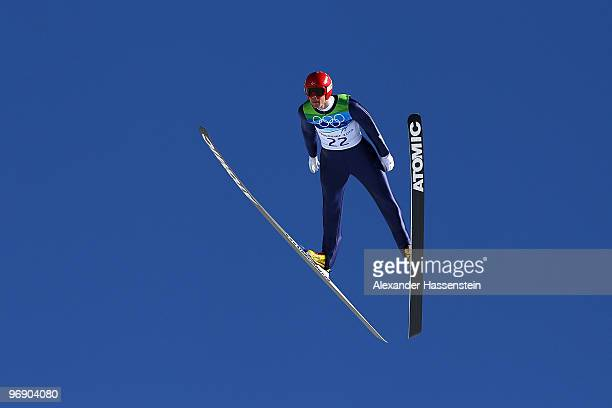 Anders Bardal of Norway soars off the Large Hill on day 9 of the 2010 Vancouver Winter Olympics at Ski Jumping Stadium on February 20 2010 in...