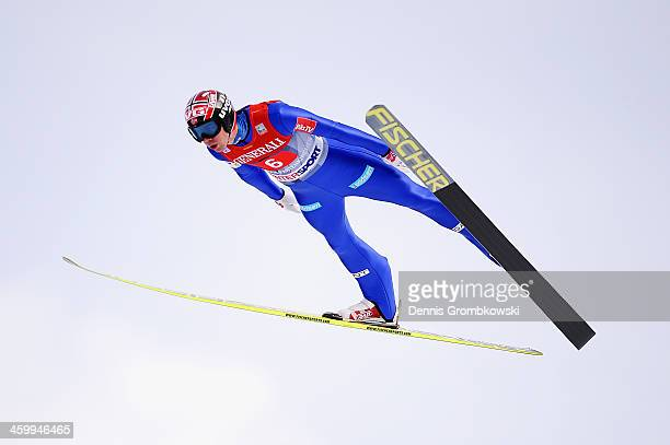 Anders Bardal of Norway soars through the air during his final jump on day 2 of the Four Hills Tournament event at Olympia Skistadion on January 1...