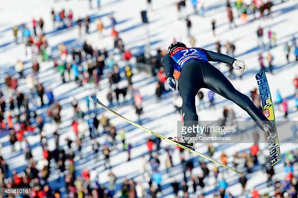 Anders Bardal of Norway soars through the air during his second training jump on day 1 of the Four Hills Tournament event on December 31 2013 in...