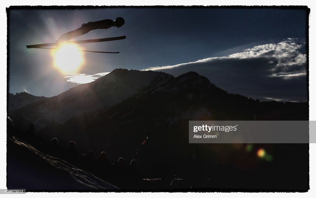 Anders Bardal of Norway soars through the air during the training round on day 1 of the Four Hills Tournament Ski Jumping event at Schattenberg-Schanze on December 28, 2013 in Oberstdorf, Germany.