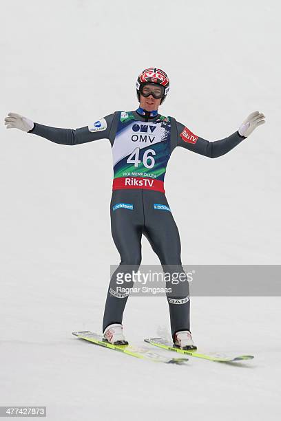 Anders Bardal of Norway takes second place during the FIS Ski Jumping World Cup Men's HS134 on March 9 2014 in Oslo Norway