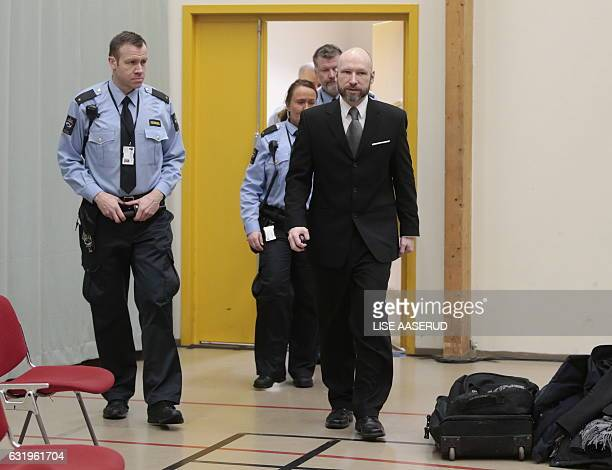 Anders Behring Breivik is pictured on the last day of the appeal case in Borgarting Court of Appeal at Telemark prison in Skien Norway January 18...