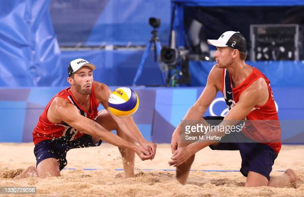Anders Berntsen Mol and Christian Sandlie Sorum of Team Norway compete against Team Spain during the Men's Preliminary - Pool A beach volleyball on...