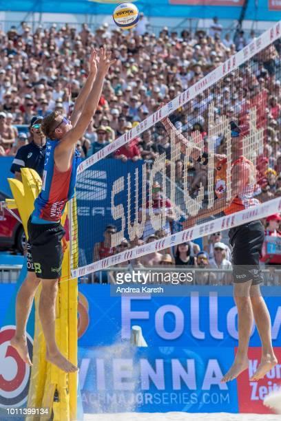 Anders Berntsen Mol of Norway blocks during the semifinal match between Anders Berntsen Mol and Christian Sandlie Sorum of Norway and Alexander...
