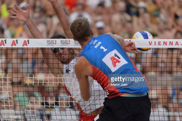 Anders Berntsen Mol of Norway is spiking during final match between Piotr Kantor of Poland and Bartosz Losiak of Poland and Anders Berntsen Mol of...