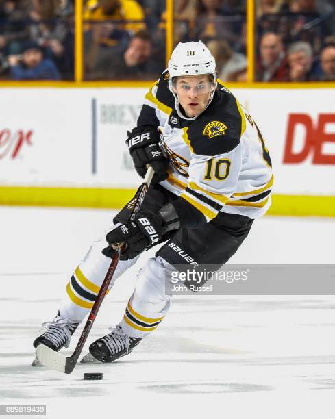 Anders Bjork of the Boston Bruins skates against the Nashville Predators during an NHL game at Bridgestone Arena on December 4 2017 in Nashville...