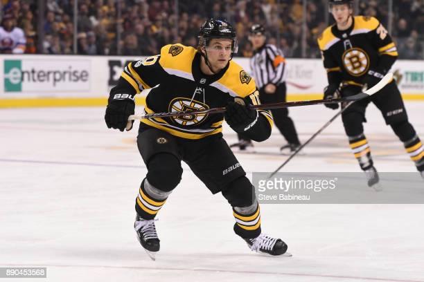Anders Bjork of the Boston Bruins skates against the New York Islanders at the TD Garden on December 9 2017 in Boston Massachusetts