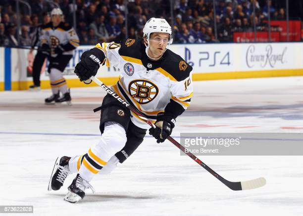 Anders Bjork of the Boston Bruins skates against the Toronto Maple Leafs at the Air Canada Centre on November 10 2017 in Toronto Canada The Maple...