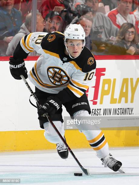 Anders Bjork of the Boston Bruins takes the puck in the second period against the Philadelphia Flyers on December 02 2017 at Wells Fargo Center in...