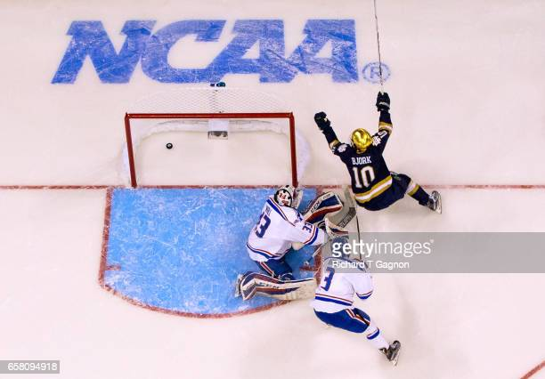 Anders Bjork of the Notre Dame Fighting Irish celebrates a goal by teammate Cam Morrison against Tyler Wall of the Massachusetts Lowell River Hawks...