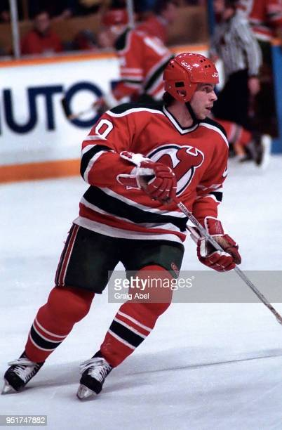 Anders Carlsson of the New Jersey Devils skates against the Toronto Maple Leafs during NHL game action on February 18 1989 at Maple Leaf Gardens in...