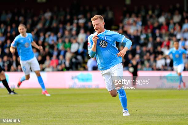 Anders Christiansen of Malmo FF celebrate his 01 goal during the Allsvenskan match between Jonkopings Sodra IF and Malmo FF at Stadsparksvallen on...