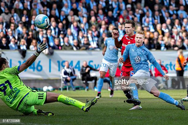 Anders Christiansen of Malmo FF scores 11 during the Allsvenskan match between Malmo FF v IFK Norrkoping at Swedbank Stadion on April 2 2016 in Malmo...