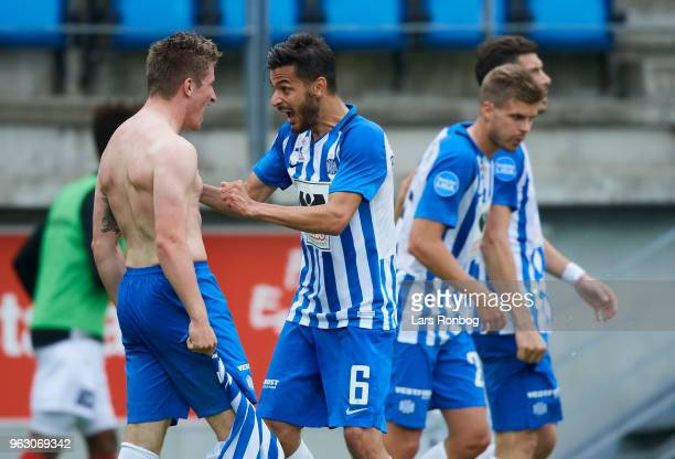 Anders Dreyer and Lasha Parunashvili of Esbjerg fB celebrate after scoring their second goal during the Danish Alka Superliga Playoff match between...