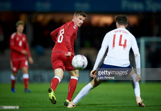 Anders Dreyer of Denmark U21 and Jack Simpson of England U21 compete for the ball during the International friendly Under21 match between Denmark U21...