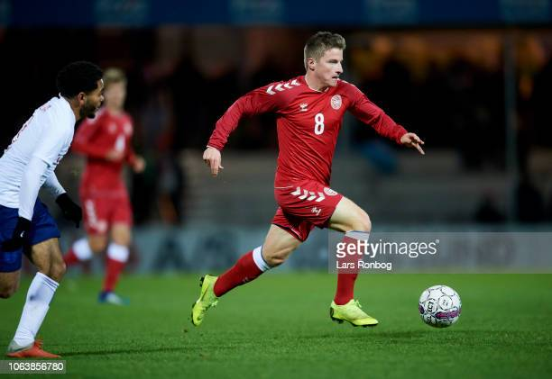 Anders Dreyer of Denmark U21 controls the ball during the International friendly Under21 match between Denmark U21 and England U21 at Blue Water...