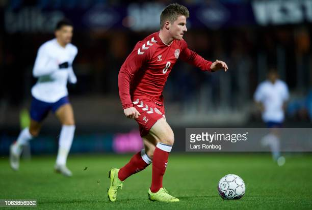 Anders Dreyer of Denmark U21 in action during the International friendly Under21 match between Denmark U21 and England U21 at Blue Water Arena on...