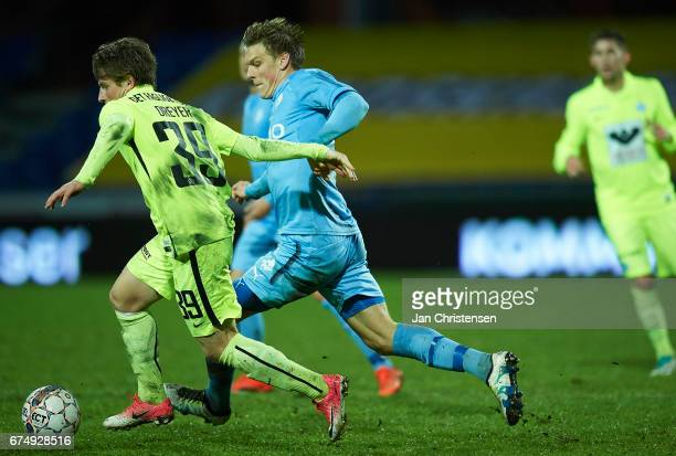 Anders Dreyer of Esbjerg fB and Kasper Enghardt of Randers FC compete for the ball during the Danish Alka Superliga match between Randers FC and...