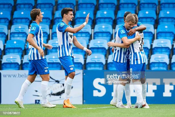 Anders Dreyer of Esbjerg fB and teammates celebrating his 10 penalty goal during the Danish Superliga match between Esbjerg fB and Randers FC at Blue...