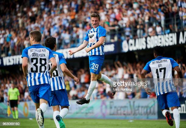 Anders Dreyer of Esbjerg fB celebrates after scoring their first goal during the Danish Alka Superliga Playoff match between Esbjerg fB and Silkeborg...