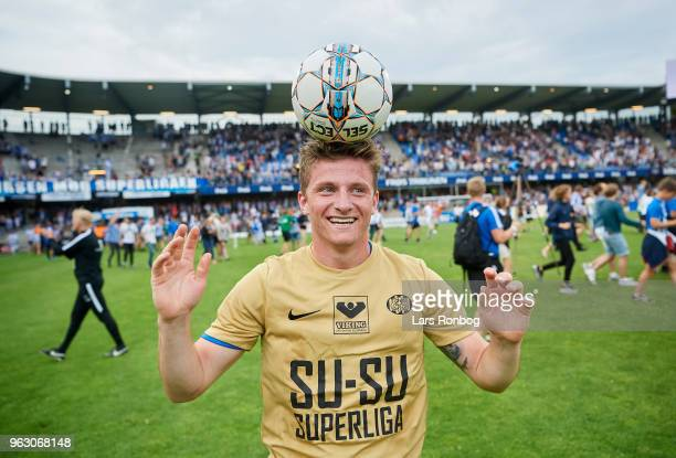 Anders Dreyer of Esbjerg fB celebrates with the Select Sport match ball after the Danish Alka Superliga Playoff match between Esbjerg fB and...