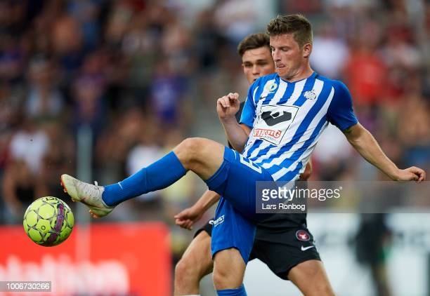 Anders Dreyer of Esbjerg fB controls the ball during the Danish Superliga match between FC Midtjylland and Esbjerg fB at MCH Arena on July 28 2018 in...