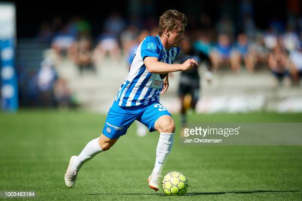 Anders Dreyer of Esbjerg fB controls the ball during the Danish Superliga match between Esbjerg fB and Vendsyssel FF at Blue Water Arena on July 21...