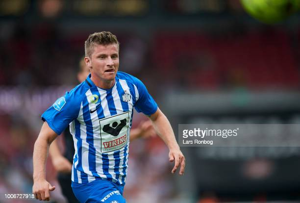 Anders Dreyer of Esbjerg fB in action during the Danish Superliga match between FC Midtjylland and Esbjerg fB at MCH Arena on July 28 2018 in Herning...