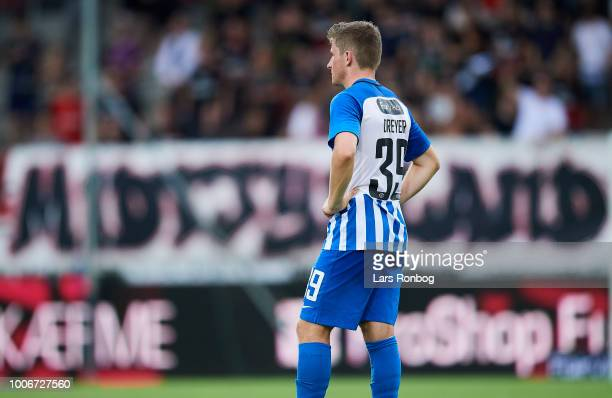 Anders Dreyer of Esbjerg fB looks dejected after the Danish Superliga match between FC Midtjylland and Esbjerg fB at MCH Arena on July 28 2018 in...