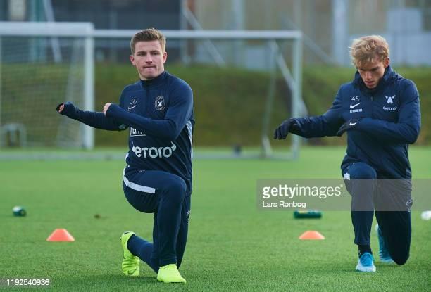 Anders Dreyer of FC Midtjylland and Gustav Isaksen of FC Midtjylland warming up during the FC Midtjylland training session at Ikast Stadion on...