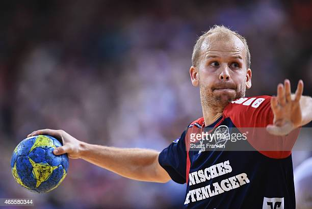 Anders Eggert of Flensburg celebrates throws a goal during the Bundesliga handball game between SG FlensburgHandewitt and SG BBM Bietigheim at the...