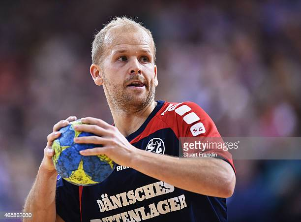 Anders Eggert of Flensburg in action during the Bundesliga handball game between SG FlensburgHandewitt and SG BBM Bietigheim at the Flens Arenaon...