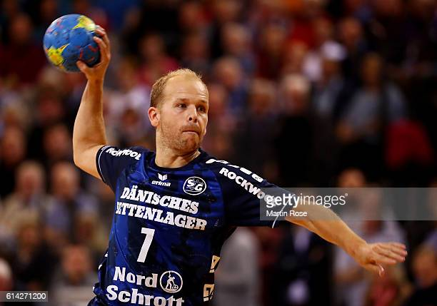 Anders Eggert of Flensburg in action during the DKB HBL Bundesliga match between SG FlensburgHandewitt and VfL Gummersbach at FlensArena on October...