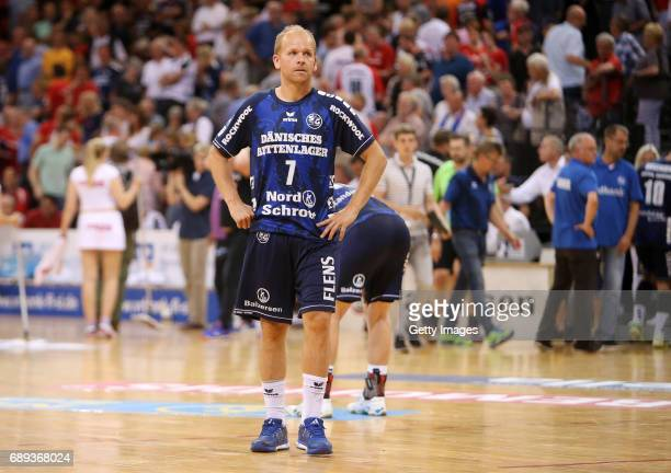 Anders Eggert of SG Flensburg Handewitt is disappointed after the Game SG Flensburg Handewitt v Rhein Neckar Loewen at FlensArena on May 28 2017 in...