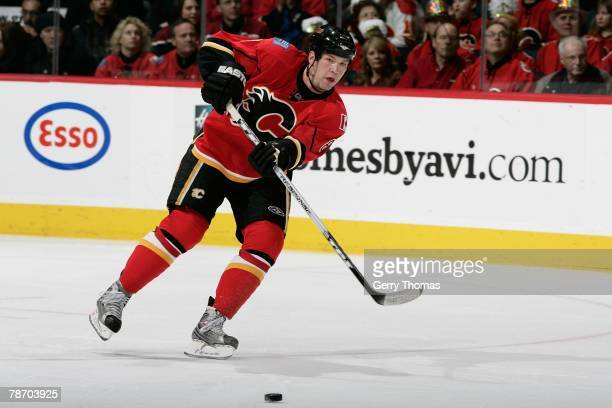 Anders Eriksson of the Calgary Flames skates against the Vancouver Canucks on December 31 2007 at Pengrowth Saddledome in Calgary Alberta Canada The...