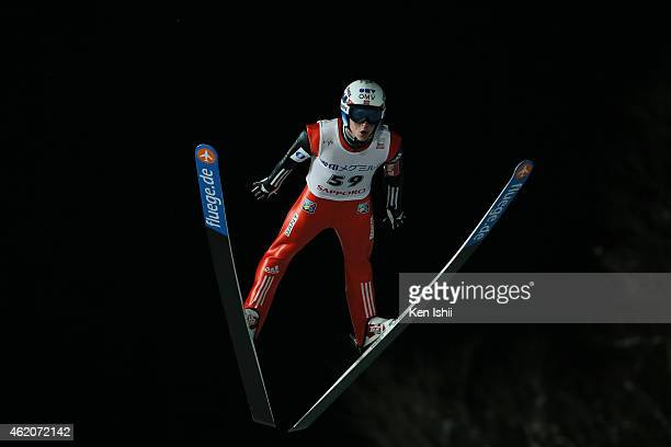 Anders Fannemel of Norway competes in the first round in the Large Hill Individual during the day one of FIS Men's Ski Jumping World Cup Sapporo at...