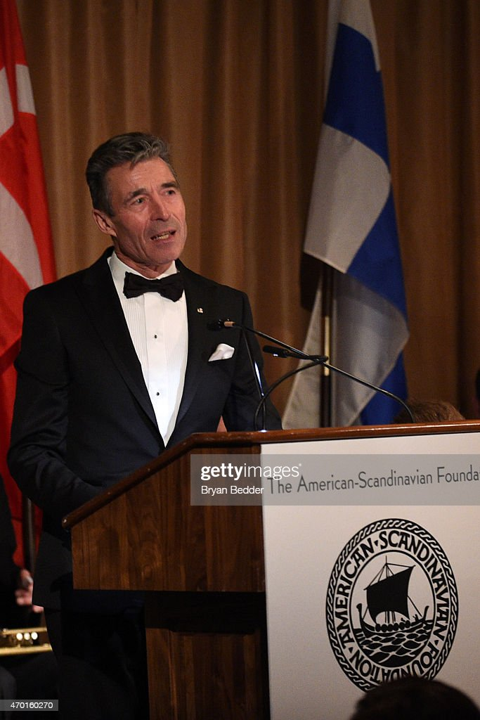 Anders Fogh Rasmussen speaks onstage at the American-Scandinavian Foundation Gala Dinner at The Pierre Hotel on April 17, 2015 in New York City.
